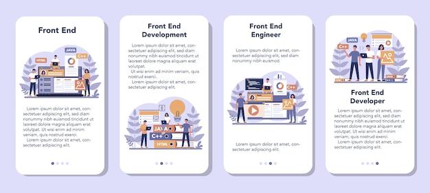 Conjunto de banners de aplicaciones móviles de desarrollo frontend.