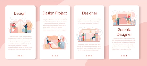 Conjunto de banners de aplicaciones móviles de diseñador gráfico o ilustrador digital.