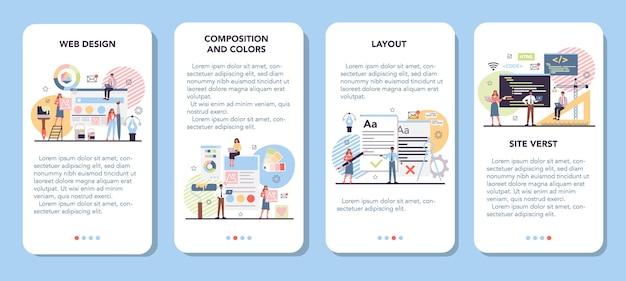Conjunto de banners de aplicaciones móviles de diseño web.