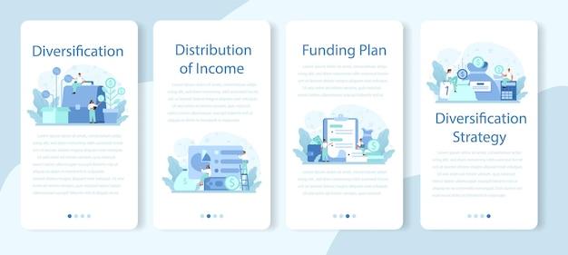 Conjunto de banners de aplicaciones móviles de diversificación empresarial.