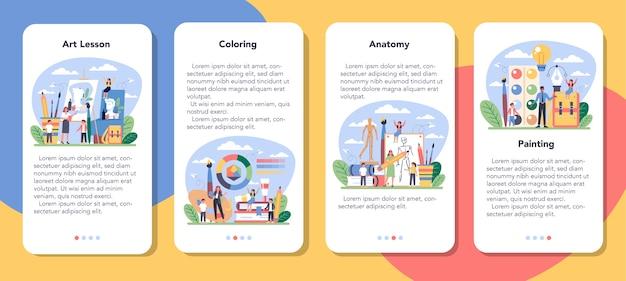 Conjunto de banners de aplicaciones móviles de educación de la escuela de arte.