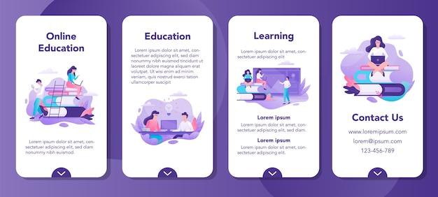Conjunto de banners de aplicaciones móviles de educación en línea. idea de aprendizaje a distancia y cursos remotos. estudiar usando la computadora. curso digital.