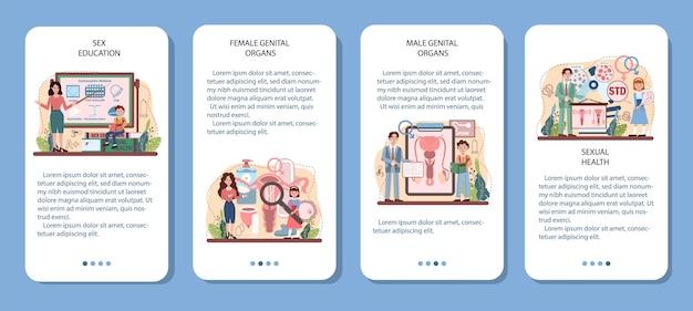 Conjunto de banners de aplicaciones móviles de educación sexual. lección de salud sexual