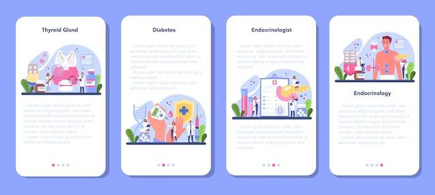 Conjunto de banners de aplicaciones móviles de endocrinólogo.