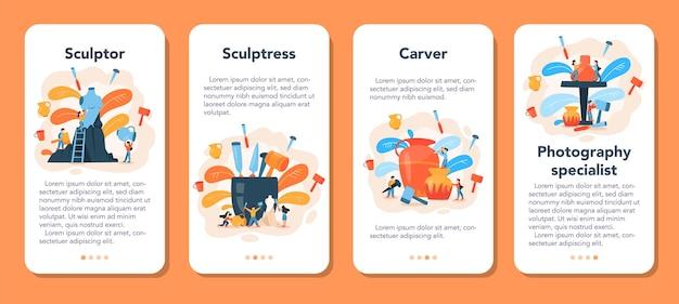 Conjunto de banners de aplicaciones móviles de escultor profesional.