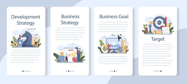 Conjunto de banners de aplicaciones móviles de estrategia de desarrollo. planificación empresarial. idea de promoción empresarial y crecimiento de beneficios. desarrollo de gestión y marketing. ilustración plana aislada