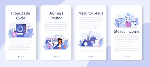 Conjunto de banners de aplicaciones móviles de etapa de madurez.