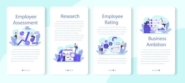 Conjunto de banners de aplicaciones móviles de evaluación de empleados