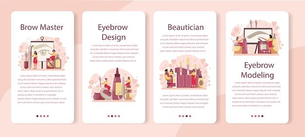 Conjunto de banners de aplicaciones móviles de eyebrow master y er. maestro haciendo cejas perfectas. idea de belleza y moda. especialista en modelado de cejas. concepto de rutina de belleza