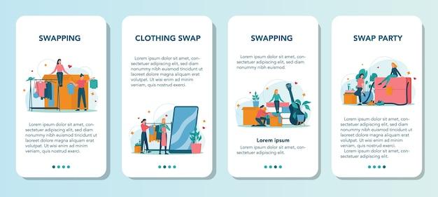 Conjunto de banners de aplicaciones móviles de fiesta de intercambio o mercado de pulgas
