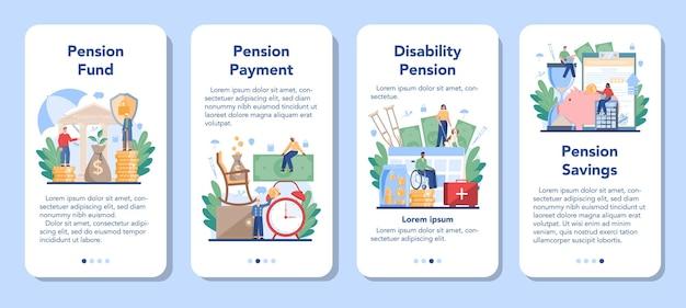 Conjunto de banners de aplicaciones móviles de fondos de pensiones. ahorrar dinero para la jubilación, idea de independencia financiera. economía y patrimonio, plan de pensiones.