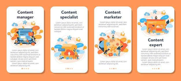 Conjunto de banners de aplicaciones móviles de gestión de contenido.