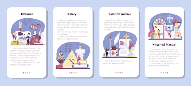 Conjunto de banners de aplicaciones móviles de historiador.
