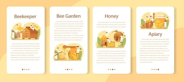 Conjunto de banners de aplicaciones móviles de hiver o apicultor