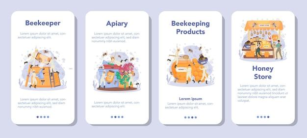 Conjunto de banners de aplicaciones móviles de hiver o apicultor.