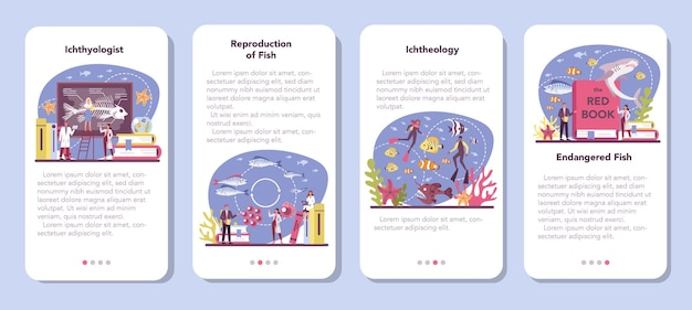 Conjunto de banners de aplicaciones móviles de ictiólogos. o