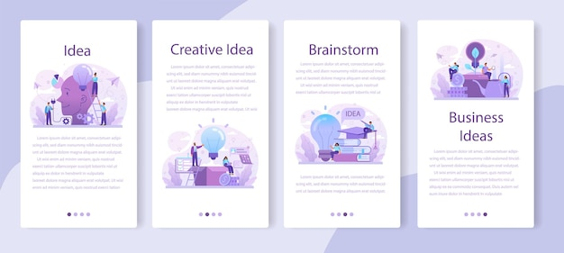 Conjunto de banners de aplicaciones móviles de idea