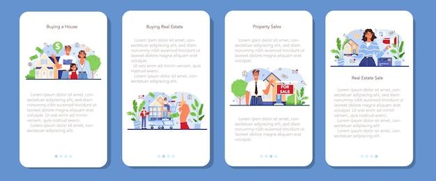 Conjunto de banners de aplicaciones móviles de la industria inmobiliaria compra de propiedades