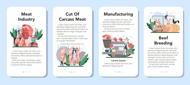 Conjunto de banners de aplicaciones móviles de la industria de producción de carne.