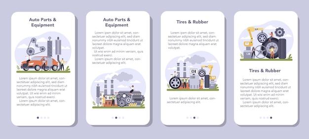 Conjunto de banners de aplicaciones móviles de la industria de producción de repuestos
