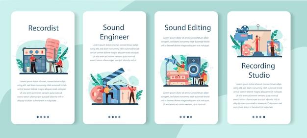 Conjunto de banners de aplicaciones móviles de ingeniero de sonido