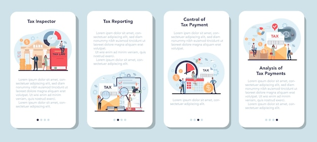 Conjunto de banners de aplicaciones móviles de inspector de impuestos. idea de reporte y control tributario.