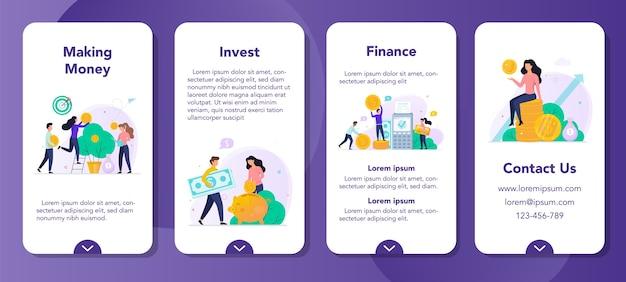 Conjunto de banners de aplicaciones móviles de inversión. hacer el concepto de dinero. idea de inversión y crecimiento financiero. árbol de dinero con moneda, ahorros y banca.
