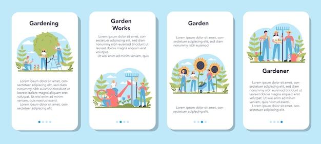 Conjunto de banners de aplicaciones móviles de jardinería. idea de negocio de diseño hortícola. carácter plantando árboles y arbustos. herramienta especial para trabajo, pala y maceta, manguera. ilustración plana aislada