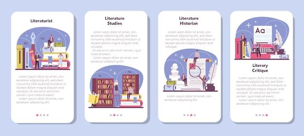 Conjunto de banners de aplicaciones móviles literatos profesionales.