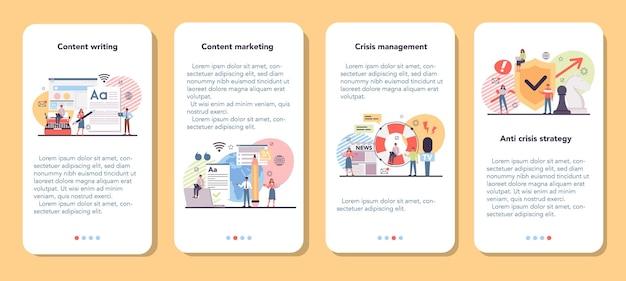 Conjunto de banners de aplicaciones móviles de marketing de contenido.