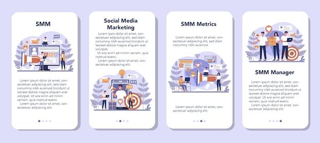 Conjunto de banners de aplicaciones móviles de marketing en redes sociales smm