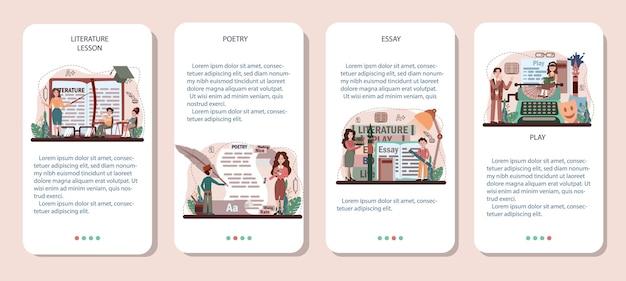 Conjunto de banners de aplicaciones móviles de materias escolares de literatura. estudiar antiguo