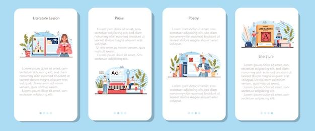 Conjunto de banners de aplicaciones móviles de materias escolares de literatura. ilustración vectorial