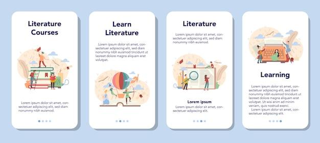 Conjunto de banners de aplicaciones móviles de materias escolares de literatura.