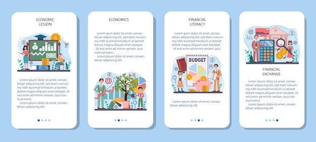 Conjunto de banners de aplicaciones móviles de materias de la escuela de economía. estudiante estudiando