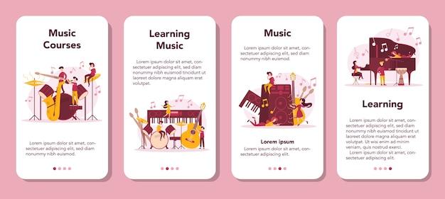 Conjunto de banners de aplicaciones móviles para músicos y cursos de música.