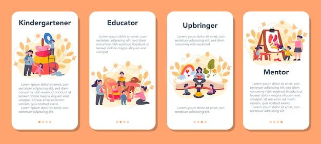 Conjunto de banners de aplicaciones móviles para niños de kindergarten.