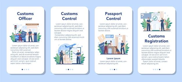 Conjunto de banners de aplicaciones móviles de oficiales de aduanas.