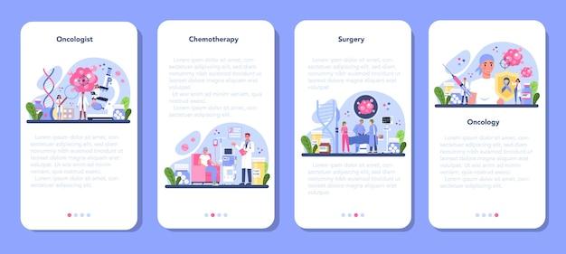 Conjunto de banners de aplicaciones móviles de oncólogo profesional.