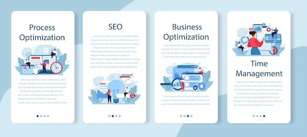 Conjunto de banners de aplicaciones móviles de optimización de procesos. idea de mejora y desarrollo empresarial. programación de personas de negocios o planificación de proyectos. trabajo en equipo eficaz.