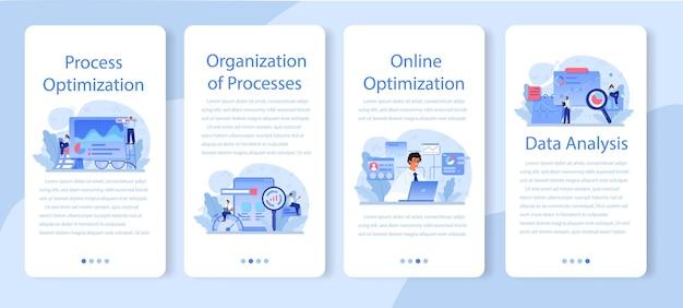 Conjunto de banners de aplicaciones móviles de optimización de procesos.