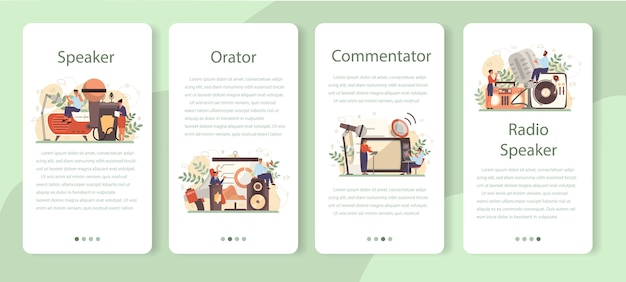 Conjunto de banners de aplicaciones móviles para oradores profesionales, comentaristas o actores de voz