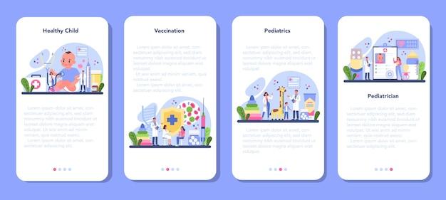 Conjunto de banners de aplicaciones móviles de pediatra.
