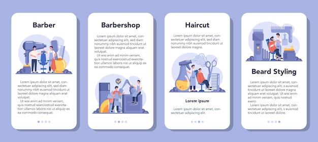 Conjunto de banners de aplicaciones móviles de peluquero