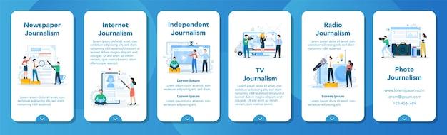 Conjunto de banners de aplicaciones móviles de periodista. reportero de televisión con micrófono. profesión de los medios de comunicación. periodismo en prensa, internet y radio.