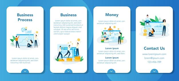 Conjunto de banners de aplicaciones móviles de planificación empresarial. idea de análisis y gestión. desarrollo financiero. personas que investigan.