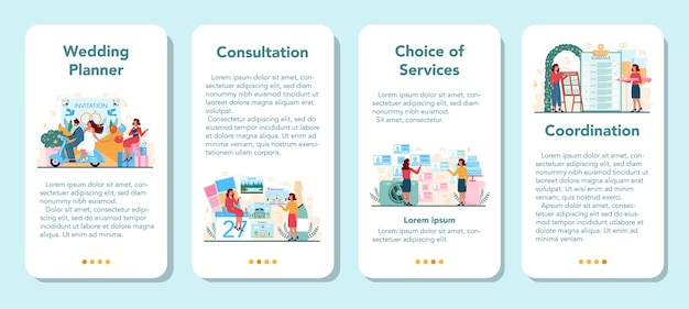 Conjunto de banners de aplicaciones móviles de planificador de bodas. organizador profesional de planificación de eventos de bodas.