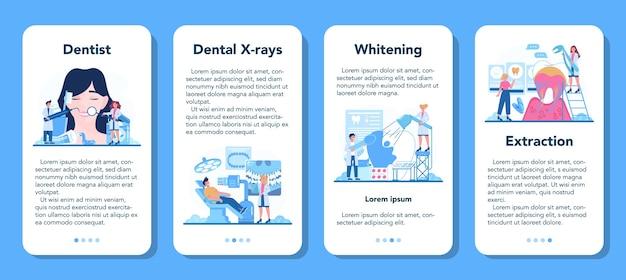 Conjunto de banners de aplicaciones móviles de profesión de dentista.