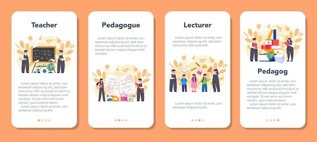 Conjunto de banners de aplicaciones móviles para profesores