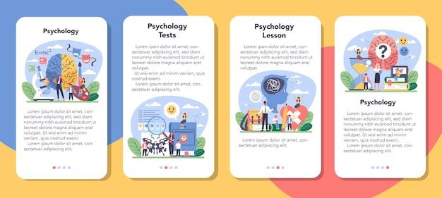 Conjunto de banners de aplicaciones móviles de psicología.